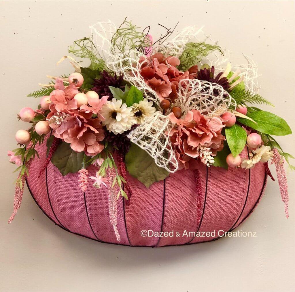 pink pumpkin wreath form