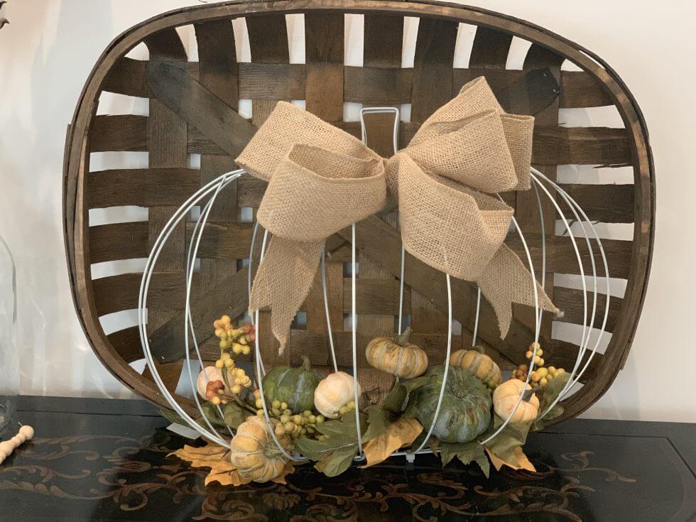 pumpkin wreath with tobacco basket