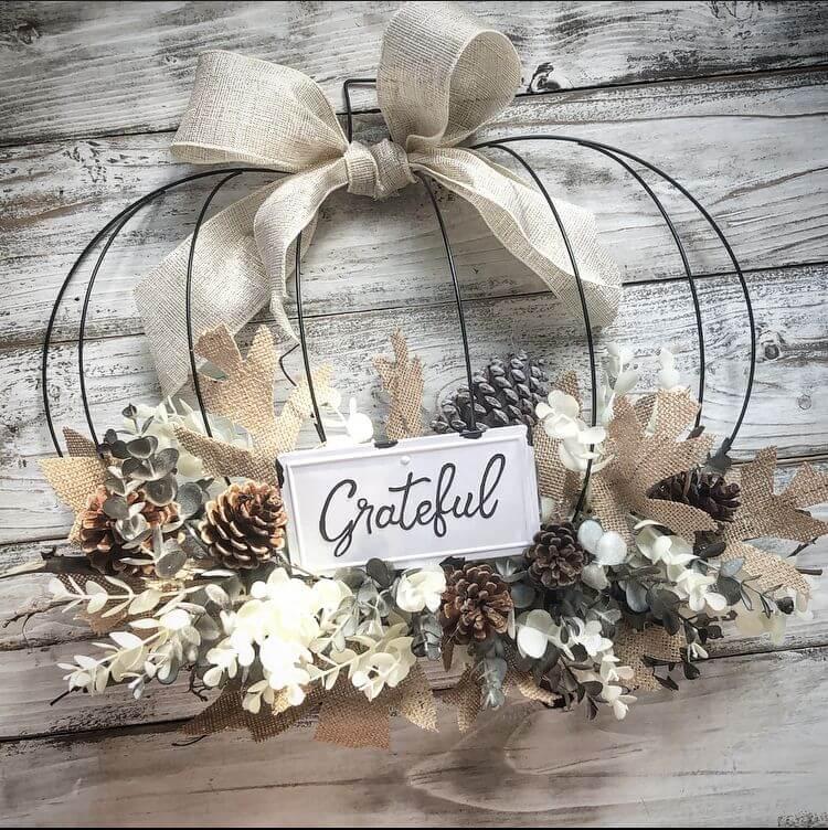 dollar tree pumpkin wreath with grateful sign