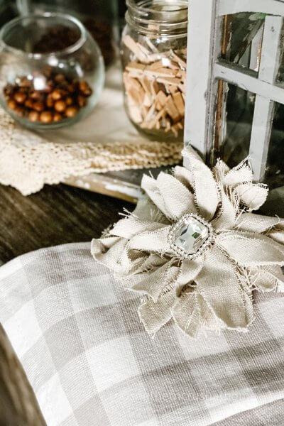drop cloth messy bow next to vintage window