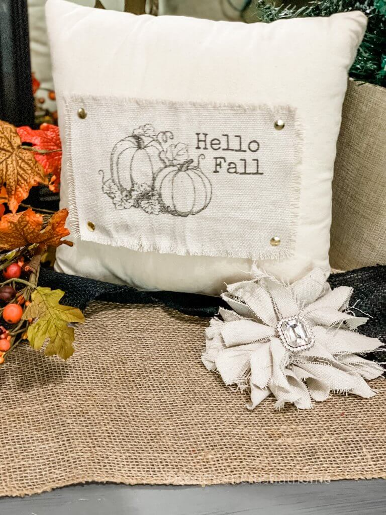 drop cloth pillow and bow