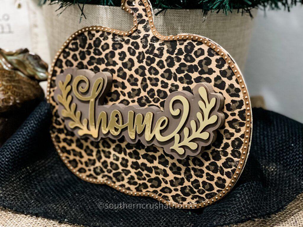 finished leopard foil pumpkin close up
