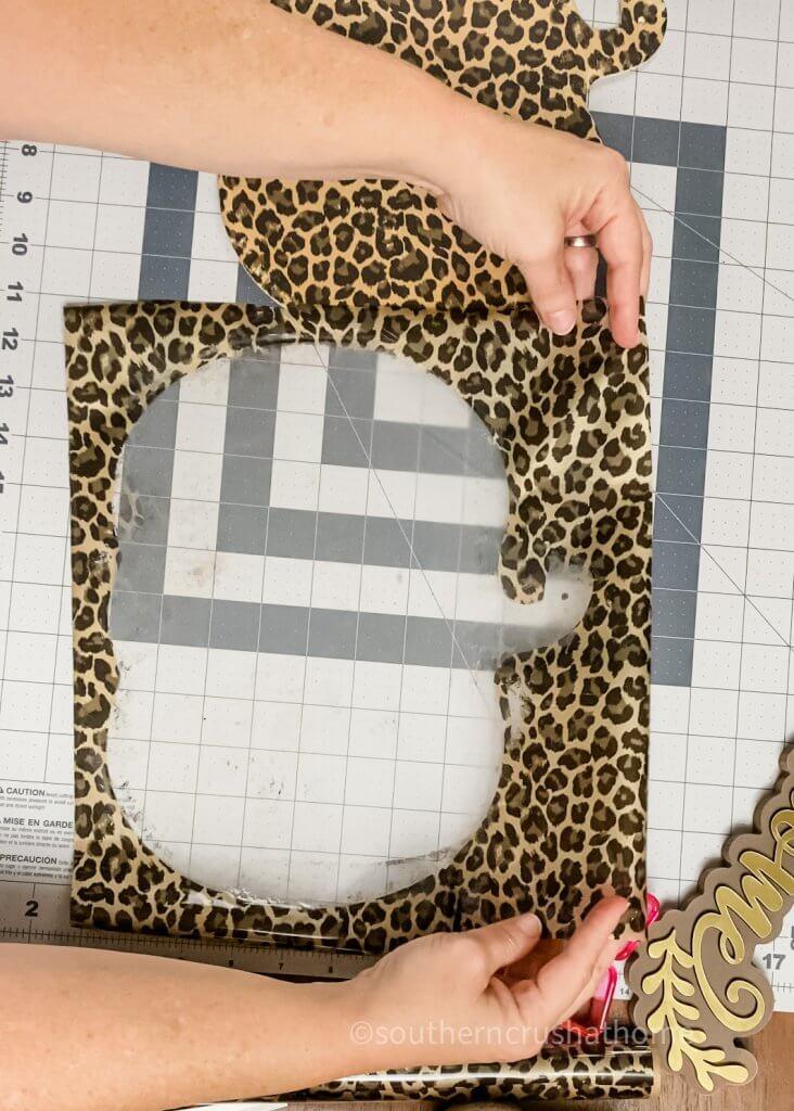 pumpkin cut out from leopard foil