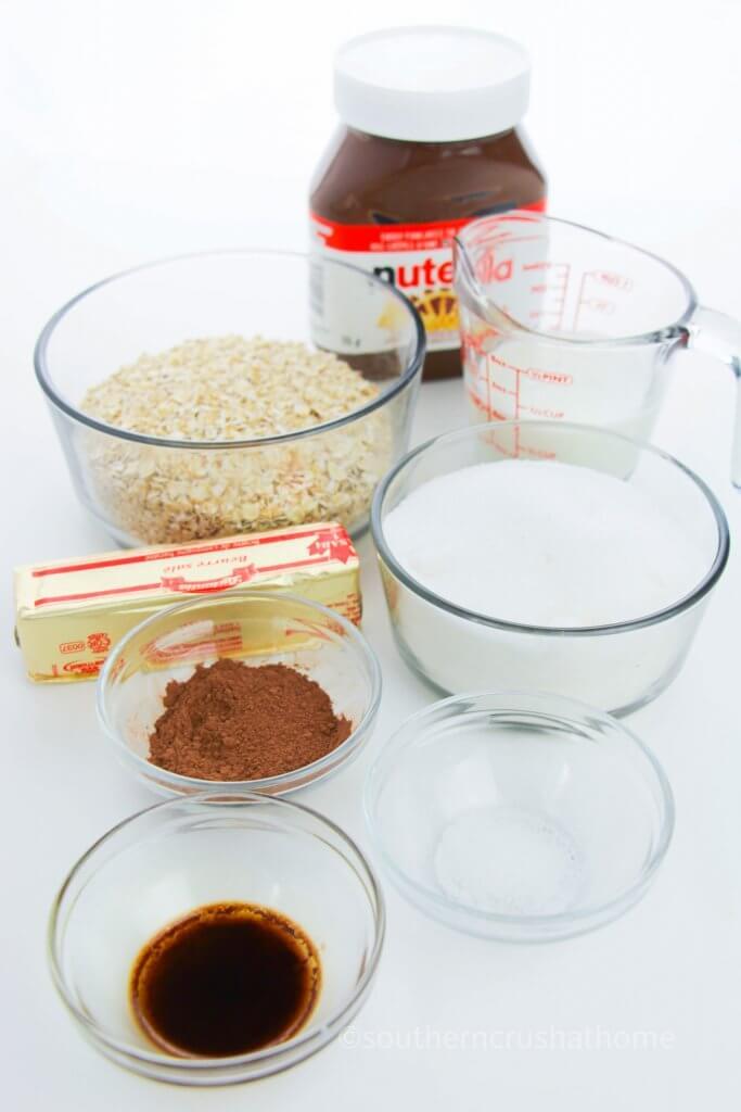 ingredients for no bake nutella cookies