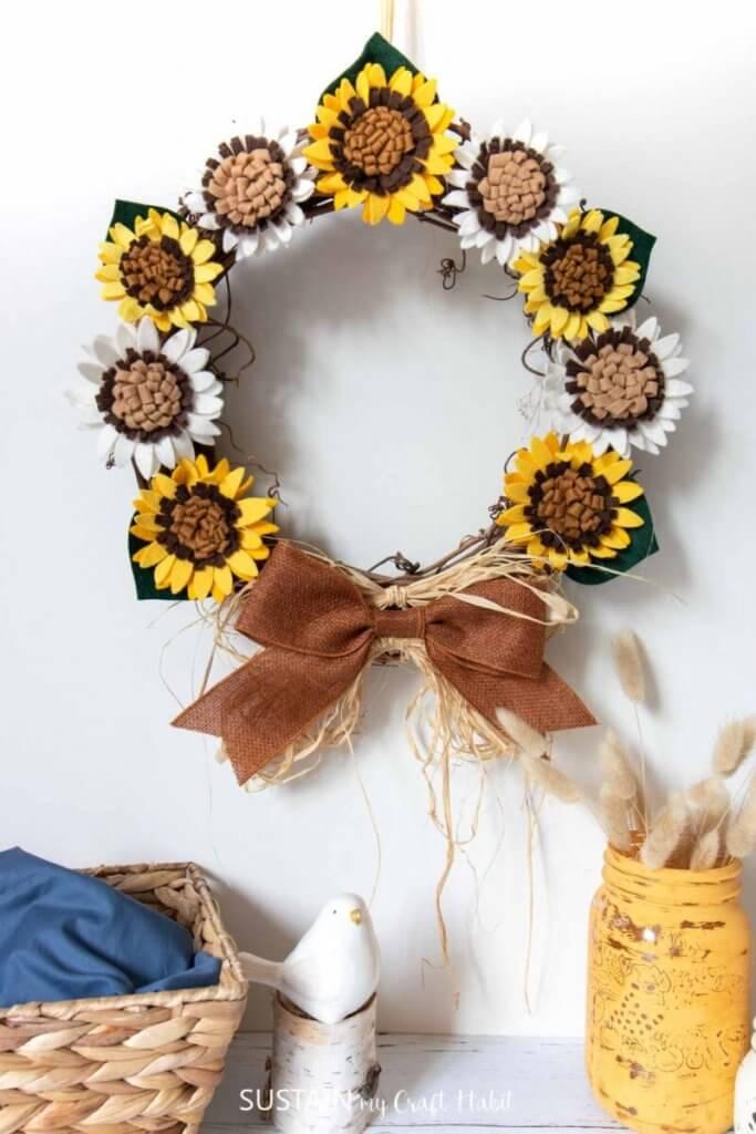 felt sunflower wreath diy