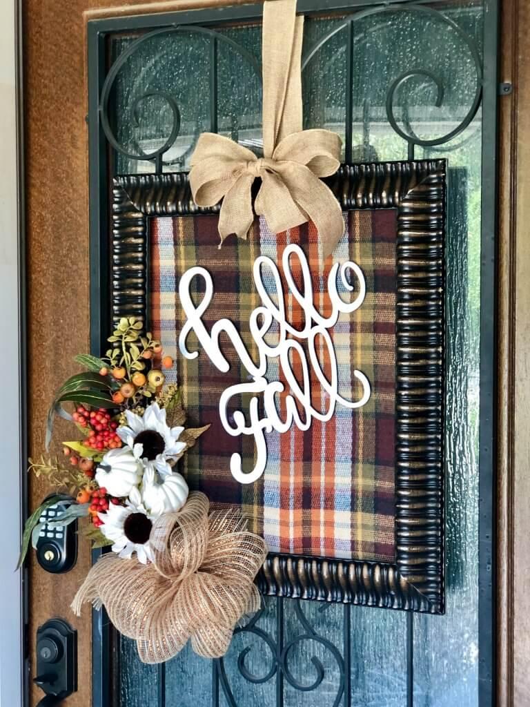easy mesh bow on hello fall frame door decor