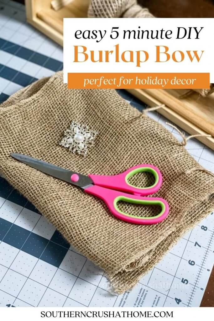 diy burlap bow pin image with text overlay