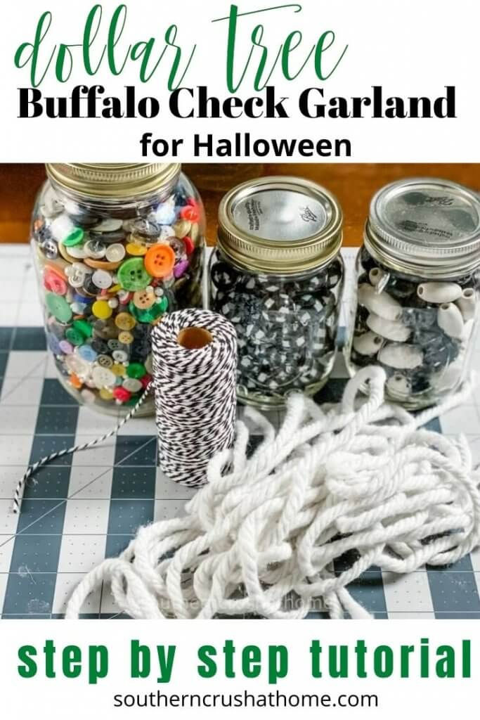 buffalo check garland for halloween pin image with text