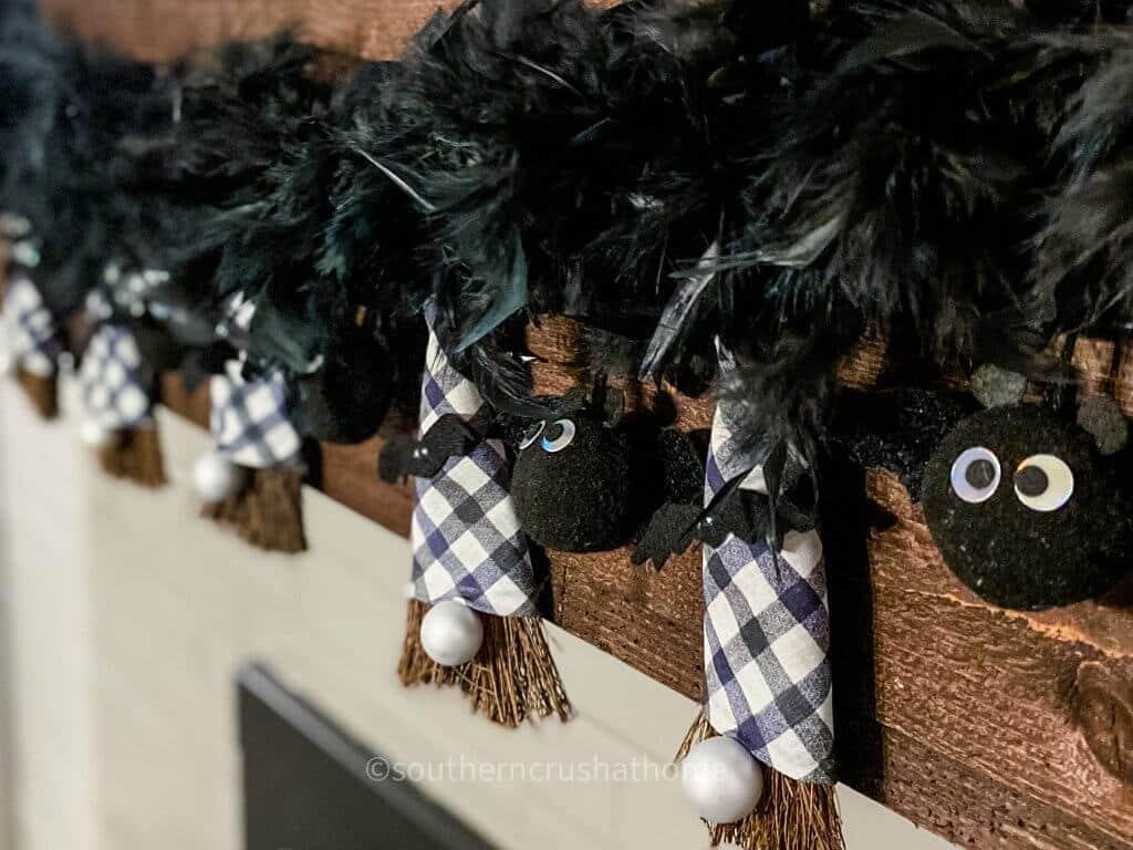 halloween broom gnome banner on mantel