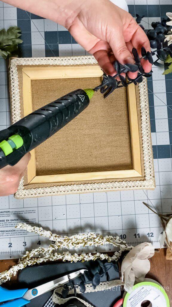 using hot glue gun on burlap