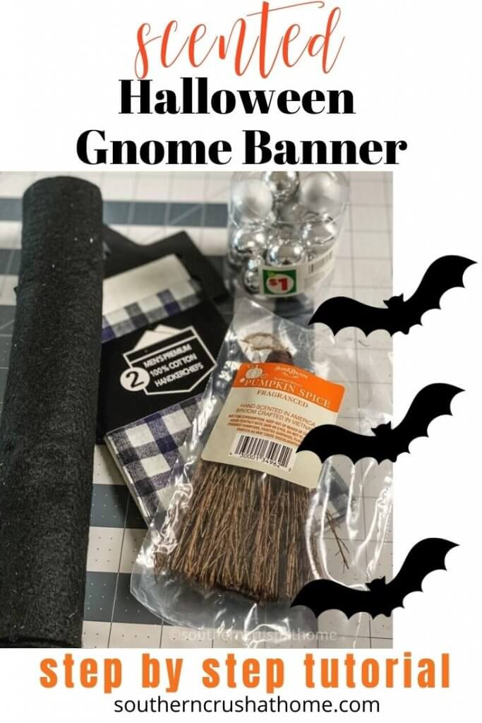 halloween scented gnome banner pin image with text overlay