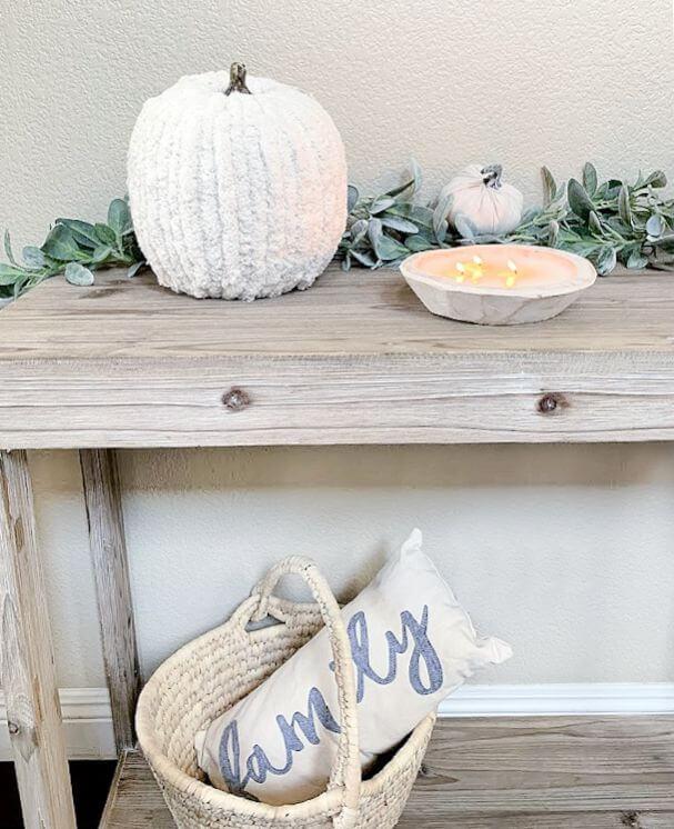 white yarn pumpkins