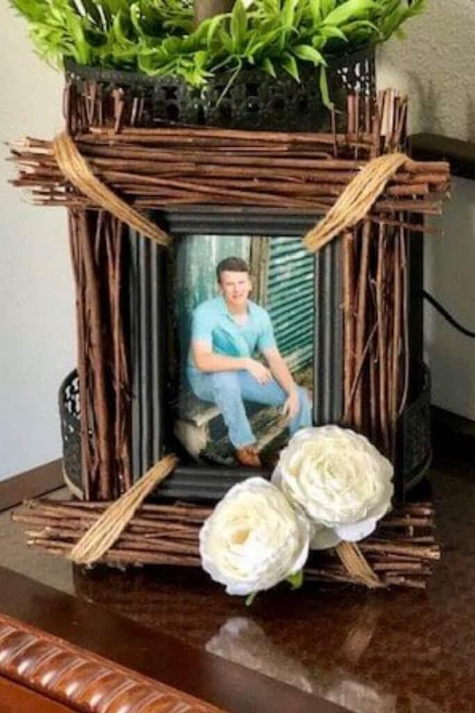 stick photo frame rustic diy