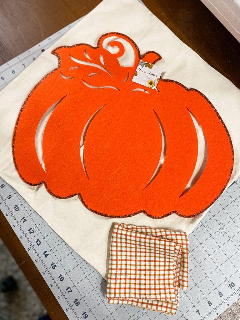 supplies for Dollar Tree pumpkin pillow