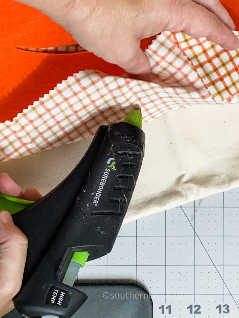 gluing fabric to pillow