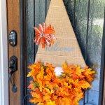 fall gnome door hanger on front door