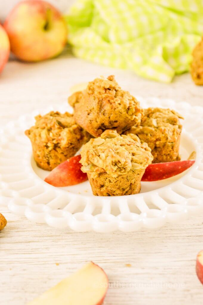 healthy apple mini muffins on platter
