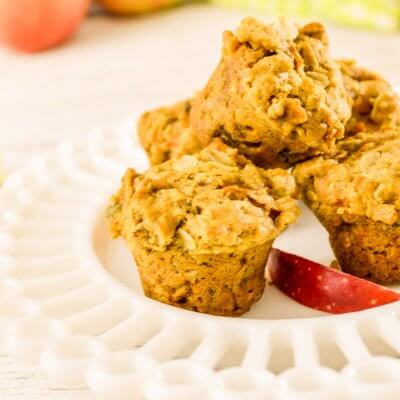 close up of healthy apple muffins stacked