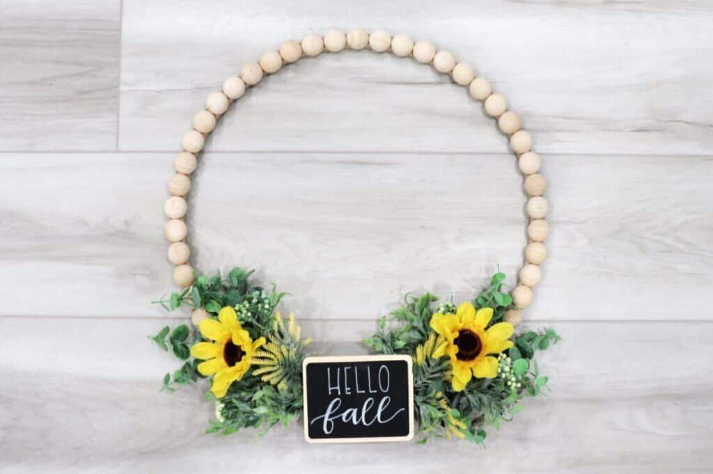 woood bead fall wreath