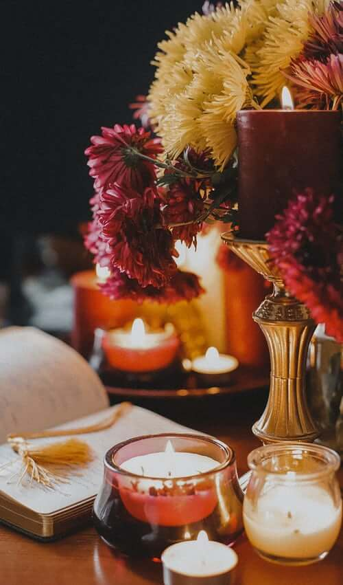 fall mums and candles