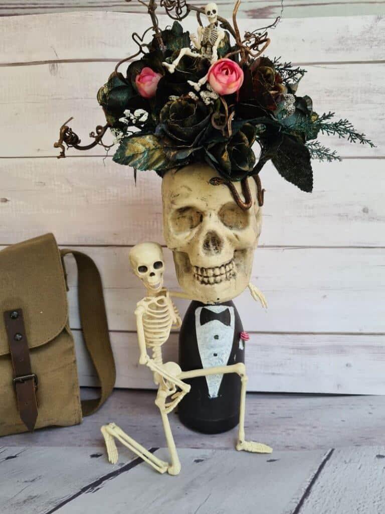 Halloween skull planter