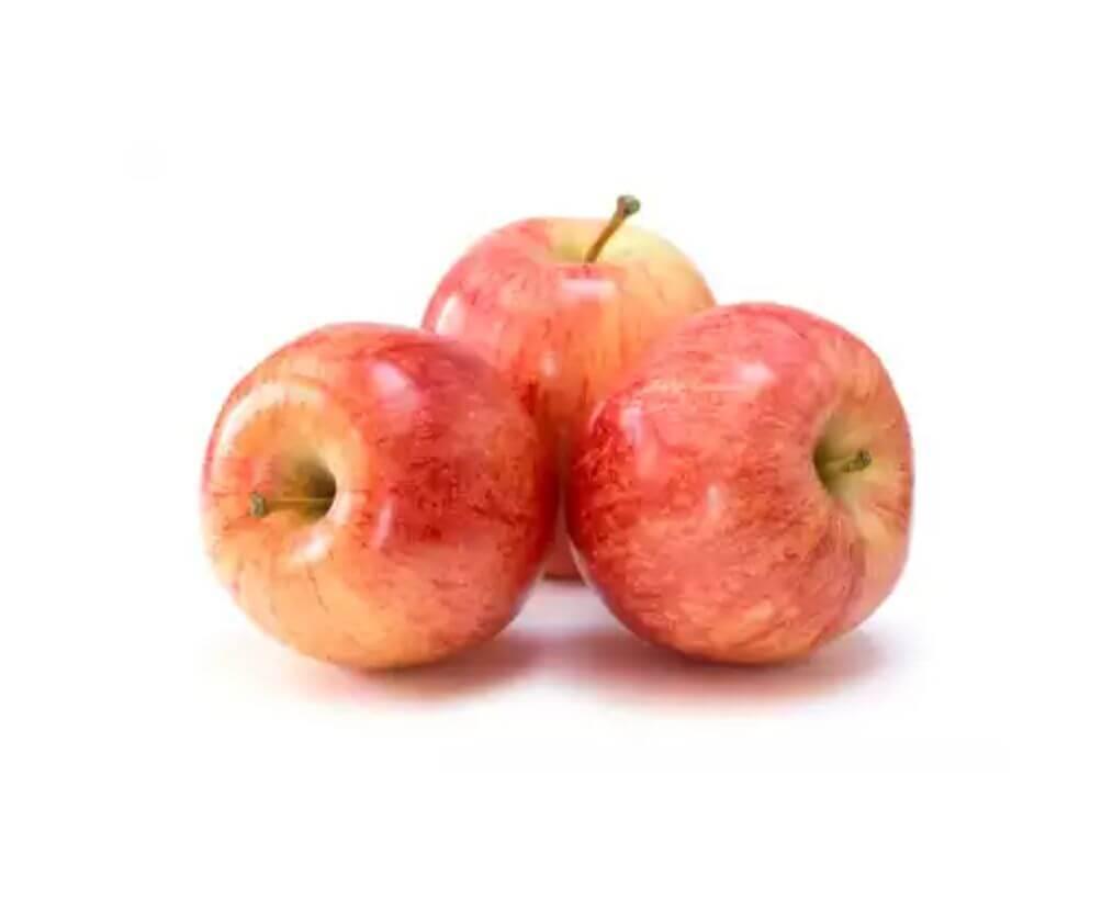three red gala apples